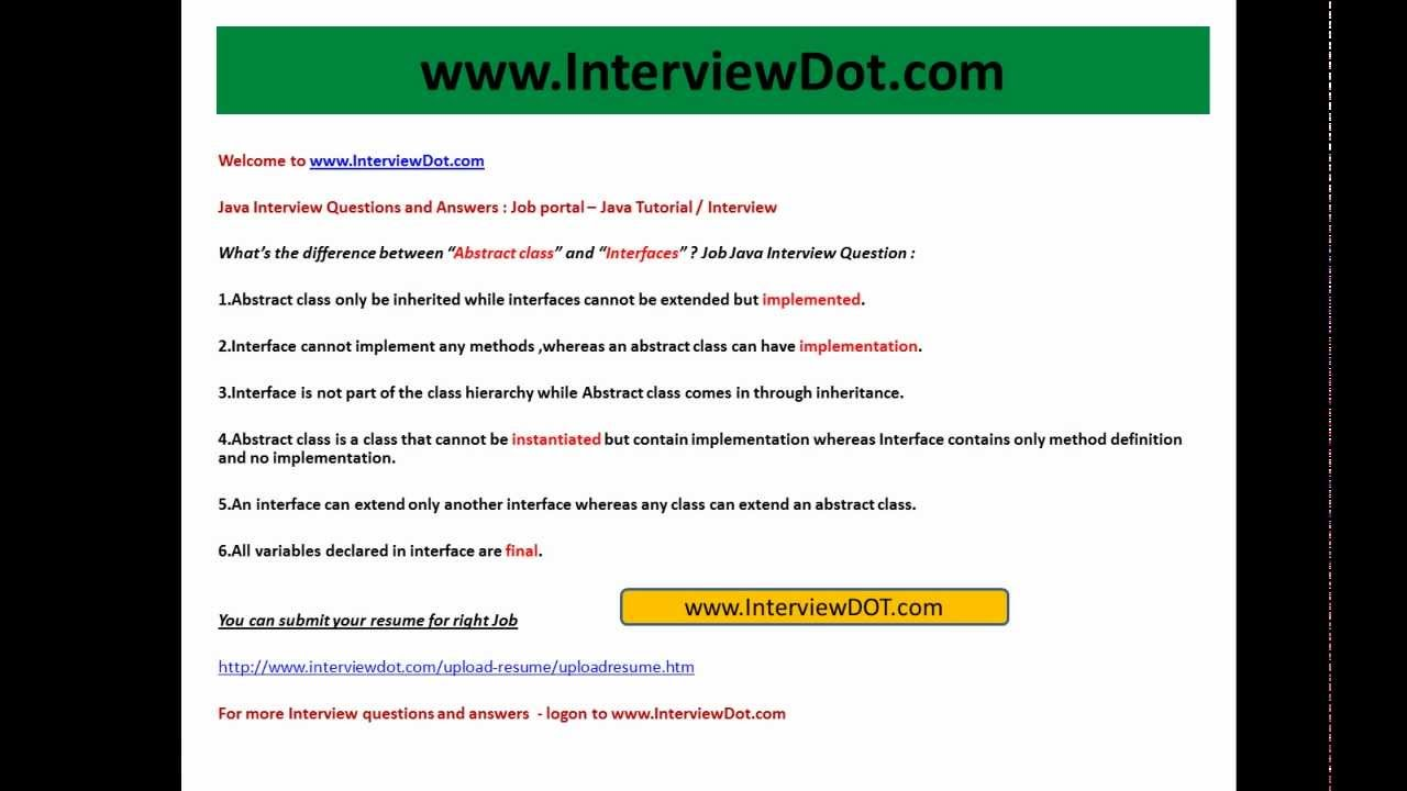 what is the difference between abstract class and interfaces java what is the difference between abstract class and interfaces java job interview question