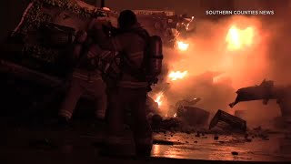 CHP officers rescue big rig driver from fiery crash that shut down NB 5 in Anaheim | ABC7