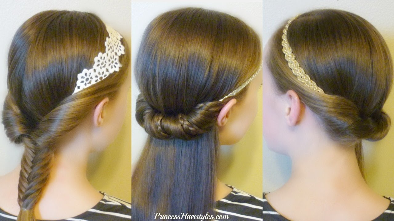 3 Quick And Easy Hairstyles For School Using Headbands Youtube