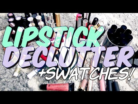 Lipstick Collection Declutter with Swatches!  // Feb 2018