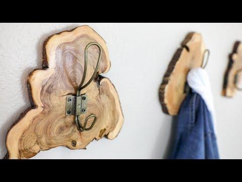Live Edge Wood Slice Coat Rack