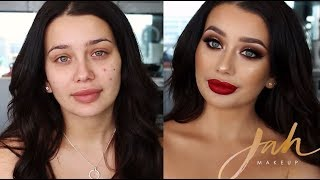 Gold Glitter, Smokey Browns & Red Lips | Client Tutorial