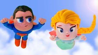 FROZEN ELSA FLIES WITH SUPERMAN  Spiderman Hulk  Frozen Elsa Play Doh Cartoons For Kids