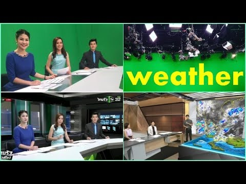news studio green screen background with weather forecast chroma key lighting