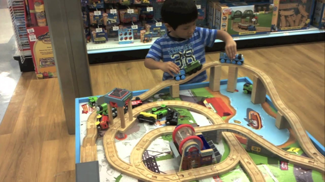 & Thomas the Train Wooden Railway Table Playset @ Toys R Us - YouTube