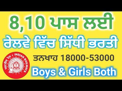 ਰੇਲਵੇ ਵਿੱਚ ਸਿੱਧੀ ਭਰਤੀ   Railway Recruitment2021   Punjab Job Search   PB Govt Jobs   Railway Bharti