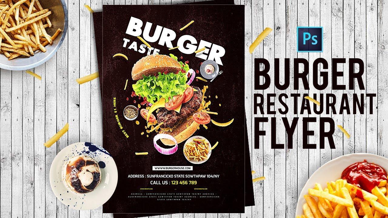 How to Design Burger Restaurant Flyer - Restaurant menu Card in Photoshop