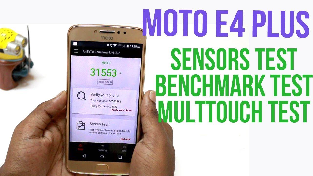 Moto E4 Plus Benchmark, Sensors, Multitouch test | Hindi |