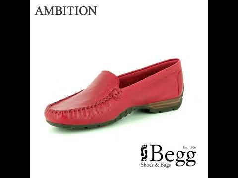 c7731ab887c Ambition Sunday Wide Fit 40539-80 Red leather loafers - YouTube