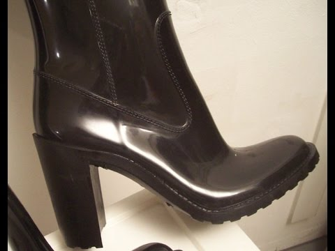 high heels flat heels rain boots - YouTube