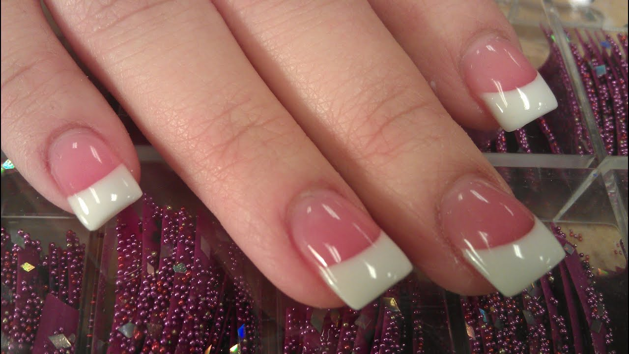 HOW TO PERFECT SOLAR PINK AND WHITE NAILS PART 1 backfill - YouTube