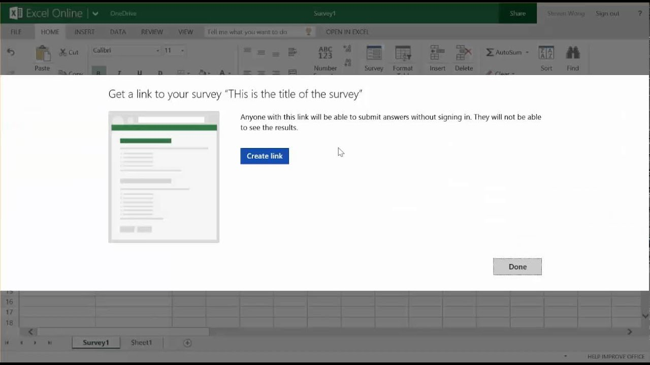 creating excel surveys with onedrive