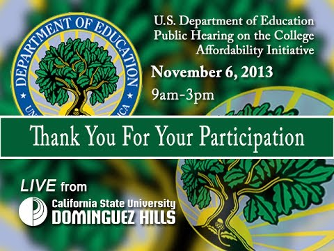 U.S. Department of Education College Affordability Forum 11/6/2013