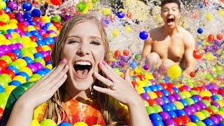 I Spent 24 Hours in a BALL PIT Pool! - Challenge Video