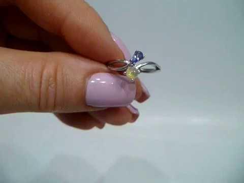 Кольцо с натуральным опалом и танзанитом Размер 17.25 Серебро 925