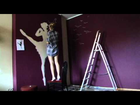 Wall art-Ballet dancer with birds