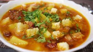 Ароматный вкусный и наваристый гороховый суп с копчеными ребрышками томлёный в мультиварке