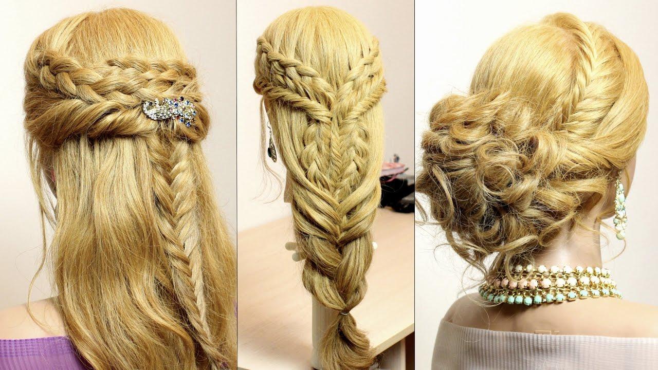 3 Easy Hairstyles For Long Hair Tutorial. Cute Braids
