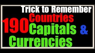 GK Trick| 196 Countries Currencies & Capital | Single Trick to Learn Country Currency Capital