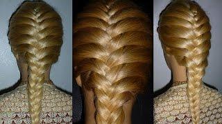 Косa Рыбий хвост.Причёски для средних/длинных волос.Плетение кос/волос. Причёска в школу для девочек