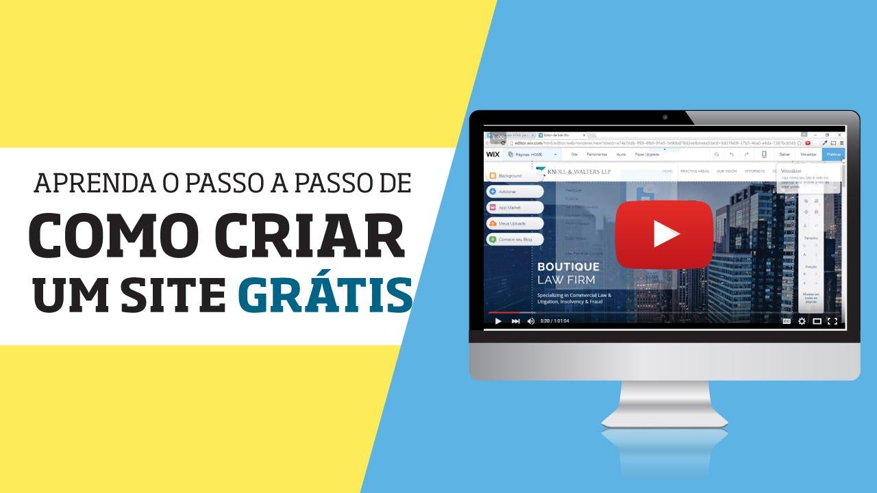 cb6497016 Como Criar um Site Grátis no Wix - Do Início - Passo a Passo - YouTube