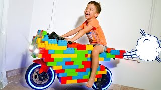 Artem and Mom Pretend Play with LEGO and ride on Power Wheels Sportbike Toys for kids