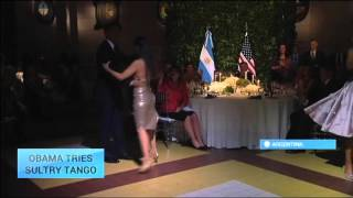 Obama Tries Tango: U.S. President takes to the dance floor at a state dinner in Buenos Aires(U.S. President Barack Obama showed off his Latin dancing moves, taking to the dance floor with a celebrated Argentine tango dancer. Dancers performed the ..., 2016-03-24T10:50:57.000Z)
