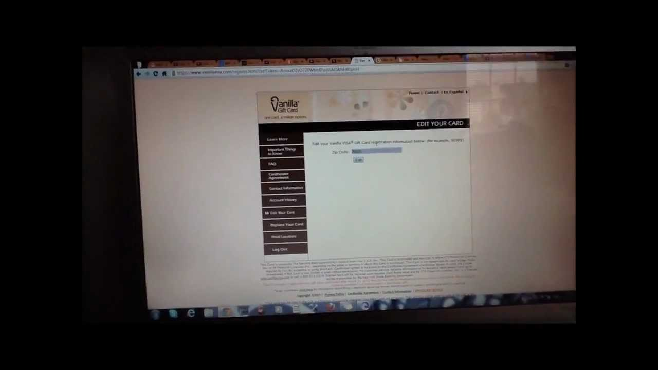 How To Register Your Vanilla Visa Gift Card - YouTube