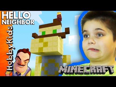 Minecraft HELLO NEIGHBOR Build! HobbyPig + HobbyFrog Contest Challenge with HobbyKidsTV