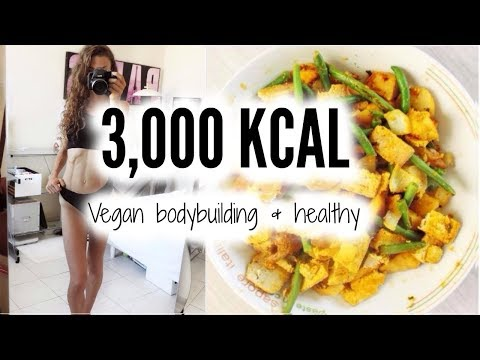 WHAT I EAT IN A DAY - MORE THAN 3000KCAL VEGAN GIRL BODYBUILDING - MORNING ROUTINE