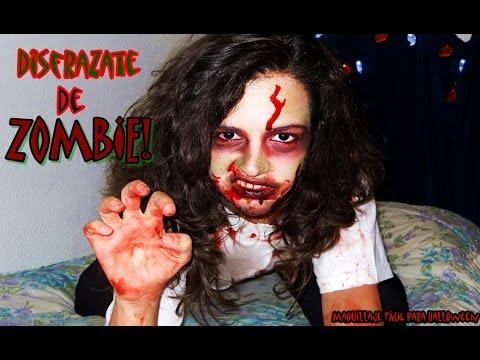 disfraz de zombie para halloween maquillaje ropa facil y rapido