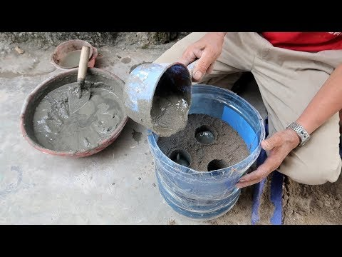 Ideas Cement Step By Step - DIY Casting a Plant Pot From Water Container And Cement