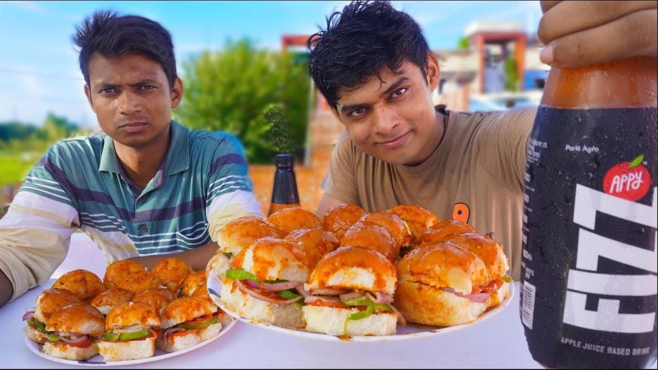 Masala Pav Sandwich Eating Challenge | Indian Street Masala Pav Challenge | Bhukkad No 1