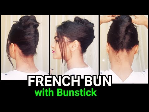 French Bun With Bunstick For Long Hair Min Messy Bun Hairstyle For School Col Work
