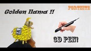 3D PEN ART | Golden llama in Fortnite Battle Royale!!!
