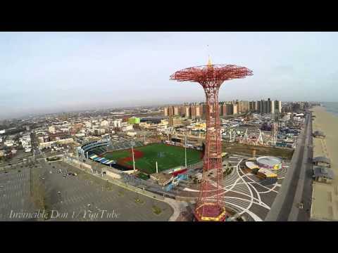 Coney Island, Brooklyn Cyclones baseball stadium ,DJI Phantom 2 Drone/UAV view