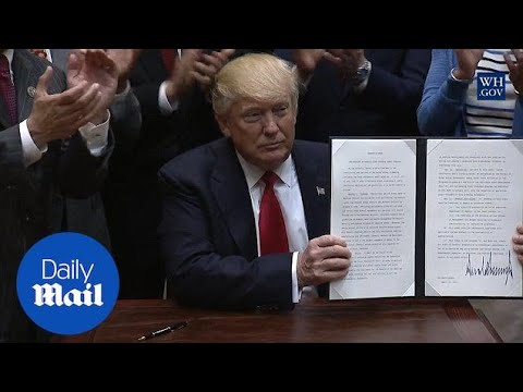 President Trump signs executive order American-first offshore shore drilling - Daily Mail