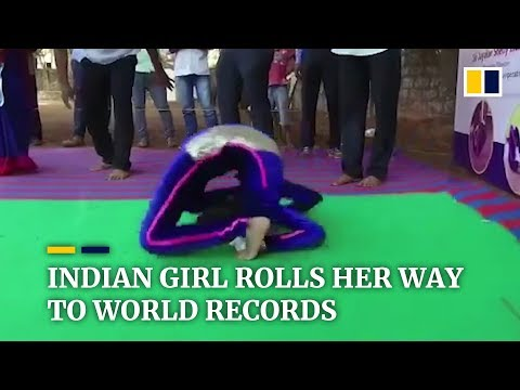 Indian girl sets two world records for most forward rolls in