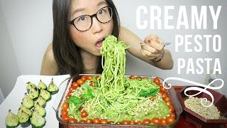 MUKBANG Creamy Pesto Pasta with Zucchini Noodles
