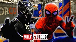 SPIDER-MAN & BLACK PANTHER Do Obstacle Course! Real Life Superhero Movie - MELF