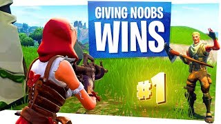 Giving Noobs Wins in Fortnite Battle Royale - Making Noobs Happy