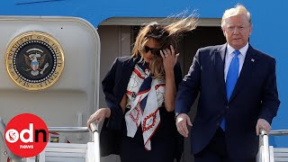 President Donald Trump touches down in UK on Air Force One for state visit