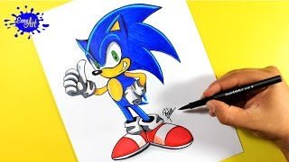 DRAWING SONIC SEGA / como dibujar a Sonic de SEGA / Dibujos de video juegos/ how to draw sonic