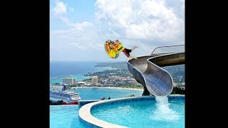 guy falls off fast water slide..