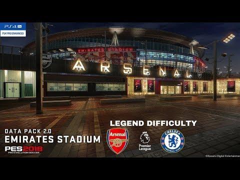 PES 2018 Data Pack 2.0  Emirates Stadium Arsenal V Chelsea PS4 Pro Game Play