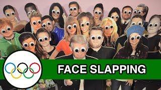 Face Slapping - Runforthecube Celebrity Olympics - Joe Sugg, Mr. Bean, Sanjeev Cube