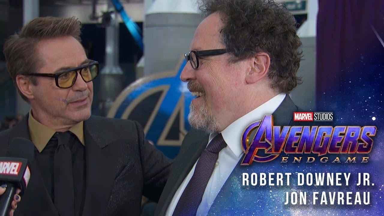 28c972342edad Robert Downey Jr   Jon Favreau talk 10 years of Iron Man at the Avengers   Endgame Premiere