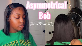 ASYMMETRICAL BOB TUTORIAL🤍 (HOW TO BLEND TRANSPARENT LACE ON DARK SKIN)