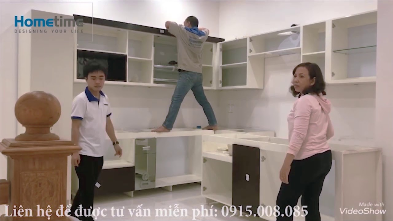 Tủ bếp Hải Phòng -Thi công tủ bếp Acrylic -Tủ bếp Hometime