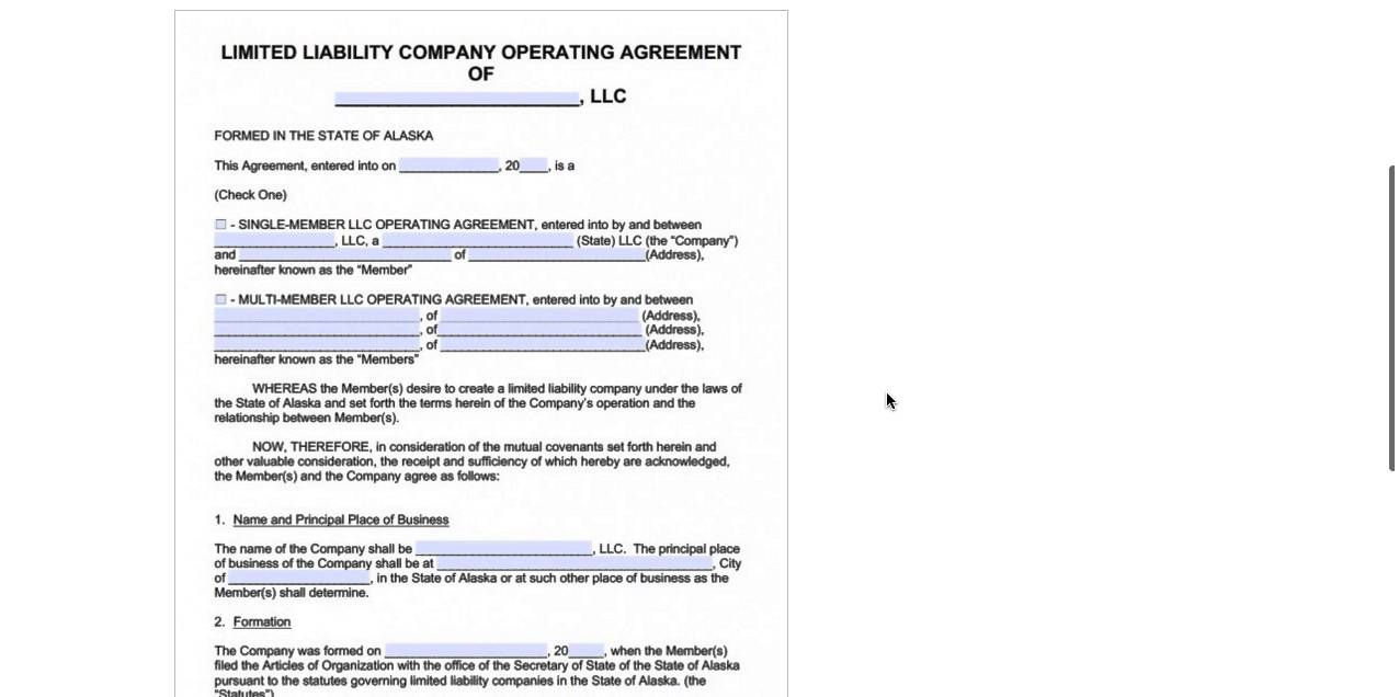 Alaska Llc Operating Agreement Template Pdf Word Youtube